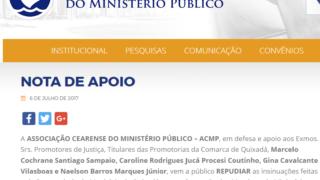 c53d0ae1ae5d9 Associação do MP repudia insinuações da Procuradoria de Quixadá sobre  documentos do concurso